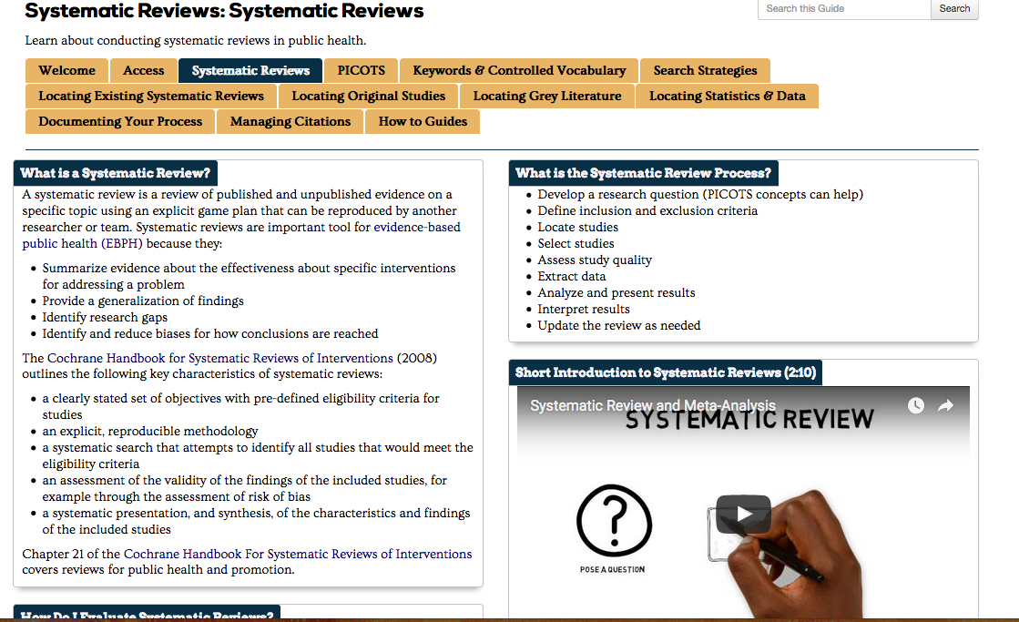 Screenshot of Systematic Reviews Guide