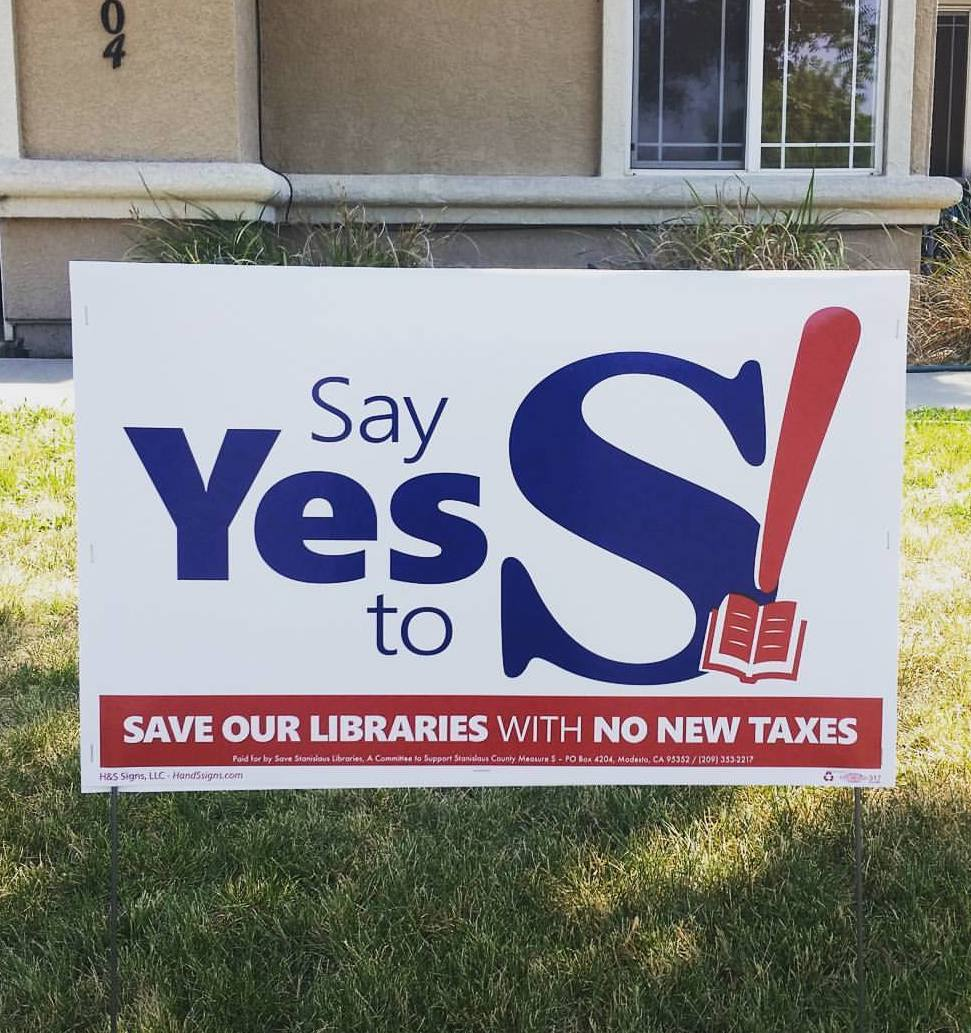 Say Yes to S yard sign