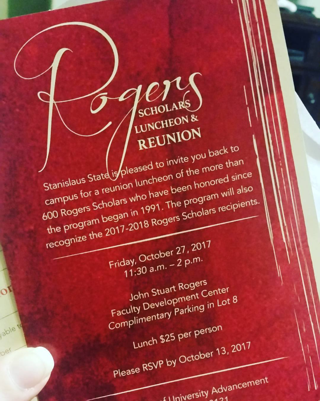 Rogers Scholars Luncheon & Reunion invitation